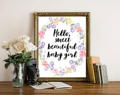 Baby Girl Nursery, Nursery wall art girl, Floral Nursery Print, Baby Decorations, Baby Nursery Decor, Baby Quotes, Nursery Printables, Art by boutiqueprintart on Etsy