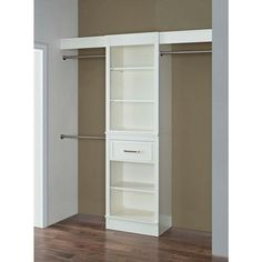 16 in. D x 60 in. W x 84 in. H Parisian White Wood Double Closet System, Parisian White Finish
