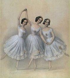 ∴ Trios ∴ the three graces & groups of 3 in art and photos - Pas de Trois Vintage Ballerina, Vintage Dance, Ballerina Art, Vintage Ladies, Vintage Ephemera, Vintage Cards, Vintage Pictures, Vintage Images, Ballerine Vintage