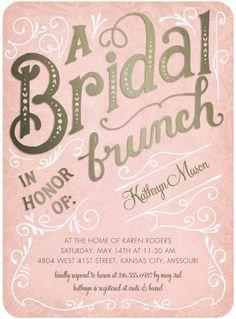 Bridal Brunch - Signature White Bridal Shower Invitations in Rose or Peppermint | Petite Alma