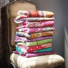 For centuries, rural women in West Bengal have stitched together scraps of cloth to create stunning quilts to keep their families warm. It is believed that old cloth can protect the user, so each embroidered kantha quilt is a work of creativity and love. Bring this colorful throw with the warmth of tradition into your own home. Reflecting the culture of the region, each throw will be different because of variations in the textiles used.