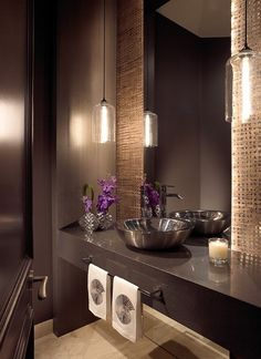 Contemporary Home Powder Room Design Ideas, Pictures, Remodel, and Decor - page 23 Bathroom Interior, Modern Bathroom, Small Bathroom, Bronze Bathroom, Ideas Baños, Interior Design Minimalist, Guest Toilet, Powder Room Design, Beautiful Bathrooms