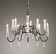 Distressed white chandelier