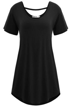 Meaneor Women's Cross Back Basic Short Sleeve Comfy Loose Fit Long Tunic Top at Amazon Women's Clothing store: