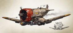 "bassman5911: "" Dieselpunk aircrafts by Christian Pearce """