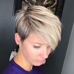 Side-Parted Blonde Balayage Pixie