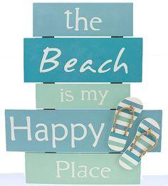 My Happy Place Wall Wood Slat Sign Plaque Coastal Beach Decor Flip Flops Sandals   Home & Garden Home Décor Plaques & Signs   eBay!