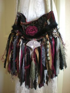 Asian / Oriental Themed Gypsy Fringe Purse - Asian Inspired Bohemian Fringe Purse - Romantic Boho Hippie Bag - Ready to Ship