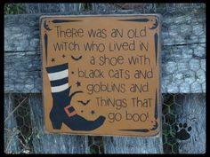 Witch In A Shoe, Primitive, Folkart, Halloween, Pine wood sign. on Etsy, $21.00