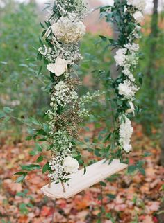 Ivory rose laced swing - Falling leaves - an Autumn wedding tale by Our Decor Events (Floral Centerpieces, Decor, Linen, Furniture & props) + Tamara Gruner Photography - via Magnolia Rouge Photo backdrop? Wedding Swing, Outdoor Wedding Reception, Mod Wedding, Wedding Reception Decorations, Garden Wedding, Wedding Ideas, Trendy Wedding, Swing Photography, Wedding Photography