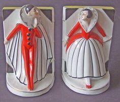 Stunning Art Deco Antique pair of GERMAN porcelain PIERROT PIERRETTE Bookends. #ArtDeco
