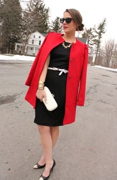 Black and red, a simple black sheath dress can go a long way