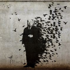 Picture Idea for Gallery Wall - Hitchcock Stencil Banksy Street Art  London  by blackbirdphotoUK