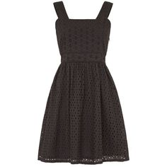 Uttam Boutique Mixed panelled broderie anglaise dress ($42) ❤ liked on Polyvore featuring dresses, black, clearance, cotton fit and flare dress, fit & flare dress, black cotton dress, knee-length dresses and day to night dresses