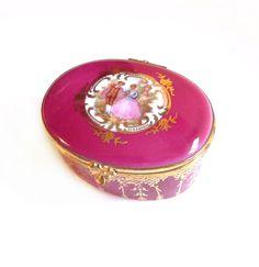 Vintage Limoges Porcelain Trinket Box, Pink Cameo.