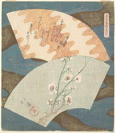 魚屋北渓(ととやほっけい) Totoya Hokkei | Two Fan Designs: Plum Blossom and Wave | Japan | Edo period (1615–1868) | The Met ととや…読めるかボケ〜!!