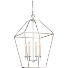 Quoizel Quiozel Aviary Silvertone Steel Cage Style Chandelier With 6 Lights 599