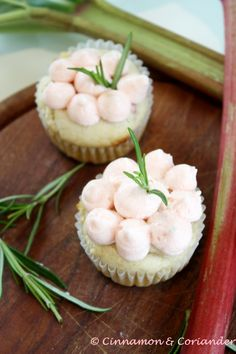Rhubarb White Chocolate Cupcakes with Rosemary Frosting