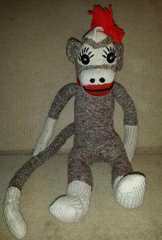 "18 5"" Vtg Home Made Sock Monkey Large Plush Doll   eBay"