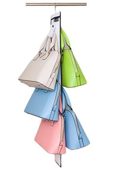 Misslo Hanging Handbag Closet Organizer Purse Storage with 10 Hooks (White): Mother's Day Gift