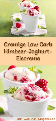 Einfaches Low Carb Himbeer-Joghurt-Eis selber machen - gesundes Eis-Rezept - Recipe for low carb raspberry yogurt ice cream – a simple ice cream recipe for low-calorie, low-c - Yogurt Ice Cream, Low Carb Ice Cream, Healthy Ice Cream, Raspberry Yoghurt, Raspberry Recipes, Healthy Low Carb Snacks, Low Carb Desserts, Easy Ice Cream Recipe, Ice Cream Recipes