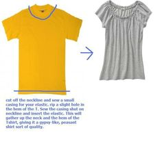 t-shirt restyle - t-shirt into peasant top - cut off neckline, sew in elastic
