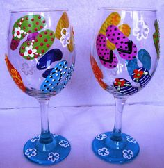 ****AWESOME IDEA 4 SUMMER POOL PARTIES,GET STARTED!!!*** hand painted wine glasses