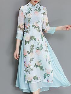 Vintage Women Fake Two Pieces Sleeve Printed Dresses fashion style outfit ideas outfit inspo shop outfits online shop new outfits purchase outfits shopping clothes summer summer tops for women buy Kurta Designs Women, Blouse Designs, Lady Like, Floral Vintage, Kurti Designs Party Wear, Designs For Dresses, Dress Stand, Maxi Robes, Indian Designer Outfits