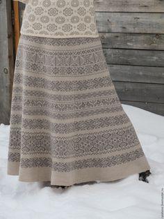 Купить юбка вязаная жаккардовая - серый, орнамент, Костюм вязаный, юбка в пол, полушерсть