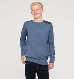 Frontimage view Pullover in blau / weiss