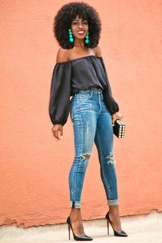 Style Pantry | Off Shoulder Silk Blouse + Distressed High Waist Jeans