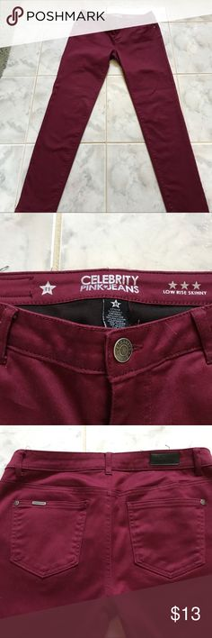 Celebrity Pink Jeans Low Rise Skinny. Sz. 11 Celebrity Pink Jeans Low Rise Skinny. Sz. 11. These jeans are wine in color and run long. Like New Condition. Cotton/ Poly/Spandex for nice stretch and comfortable fit. Celebrity Pink Jeans Skinny