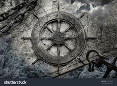 Vintage Navigation Background Illustration With Steering Wheel, Charts, Anchor, Chains - 150730652 : Shutterstock