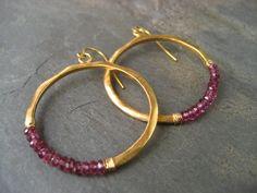 Rhodolite garnet rondelle hoop earrings by ElfiRoose on Etsy