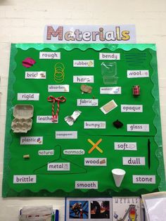 Science display: Materials (Year More Put on bulletin board outside of class along with examples of man-made vs. First Grade Science, Primary Science, Science Topics, Kindergarten Science, Science Resources, Science Classroom, Science Lessons, Teaching Science, Science Activities