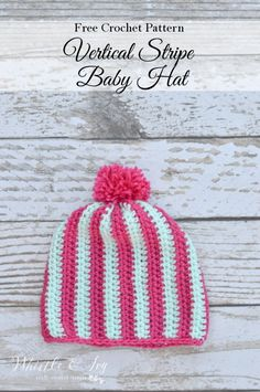 Crochet Vertical Stripe Baby Beanie - Whistle and Ivy Crochet Hats For Boys, Baby Hats Knitting, Crochet Baby Hats, Free Crochet, Knitted Hats, Crochet Headbands, Kids Crochet, Crochet Ideas, Modern Crochet Patterns