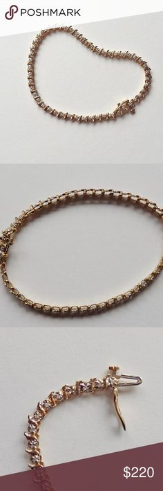"""10k yellow gold and diamond tennis bracelet Vintage 10K gold  tennis bracelet with 49 prong set rough cut diamonds 7-1/2"""" entire length and 7"""" when clasped, 1/8"""" (3-4 mm) in width and height, total weight 5 grams. Jewelry Bracelets"""