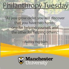 """As you grow older you will discover that you have two hands; one for helping yourself, and the other for helping others."" - Audrey Hepburn quote about service Doctor Of Pharmacy, North Manchester, Paul Tudor Jones, Liberal Arts College, Service Quotes, Athletic Training, Word Families, Monday Motivation, Helping Others"