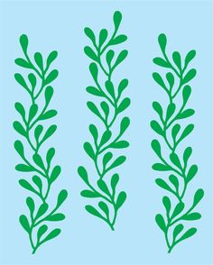 Seaweed Wall Decals  set of 3  new design by FairyDustDecals, $13.00
