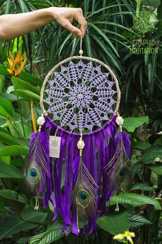 Purple doily dream catcher, Large dreamcatcher wall hanging with peacock feathers, Unique wedding crochet boho wall decor, Lilac kids room