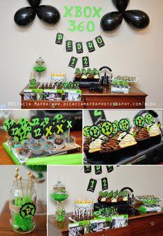 Xbox Themed 12th Birthday Party Green Black Gaming Console Boy Twelve Boy Kids