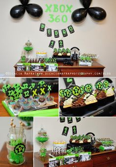 Xbox Themed 12th Birthday Party Green Black Gaming Console Boy Twelve Boy Kids