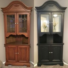 Before and after General Finishes Lamp Black milk paint For mom's small desk? Diy Furniture Projects, Funky Furniture, Refurbished Furniture, Paint Furniture, Repurposed Furniture, Furniture Makeover, Furniture Design, Muebles Living, Black Lamps