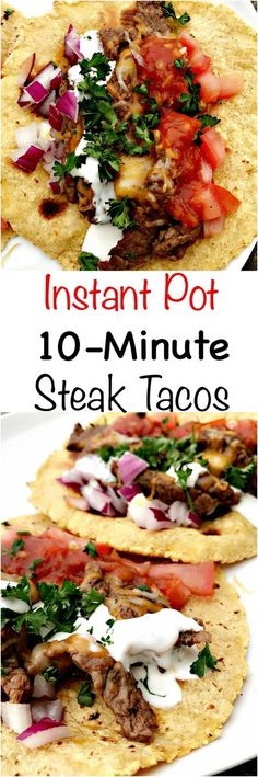 Quick and easy 10-minute Instant Pot steak tacos are a healthy and skinny meal. Tacos are loaded with fresh salsa, cilantro, and juicy steak. Steak Tacos, Beef Fajitas, Slow Cooker Recipes, Crockpot Recipes, Cooking Recipes, Healthy Recipes, Delicious Recipes, Healthy Meals, Healthy Fajitas