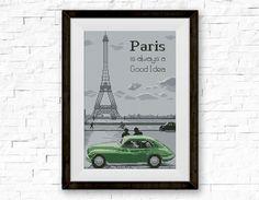 BOGO FREE! Paris is always a Good Idea, Cross Stitch Pattern, Paris Eiffel Tower, Quote, Embroidery Needlework PDF Instant Download #045-1 by StitchLine on Etsy