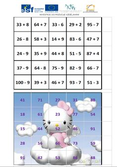 Skládanka - addition and subtraction to 100 with the transition of tens :: Elementary school and kindergarten Olešná Math Measurement, Math Multiplication, Kindergarten Math, Teaching Math, Math Resources, Math Activities, Printable Math Games, School Frame, Math School
