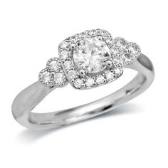 3/4 CT. T.W. Diamond Square Frame Engagement Ring