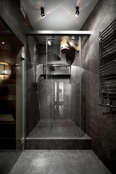 compact sauna / Compact, modern, minimalist style sauna for a modern apartment on Gorky Street
