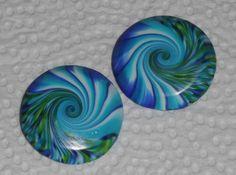 """Große Ohrclips """" Swirl in Blau-Grün"""" - ein Designerstück von iCo-Design bei DaWanda"""