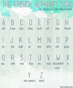 pretty french alphabet Click the picture to hear the tune I learnt. (I still remember it so it must be good.) Knowing the names of the letters is useful if you ever need to spell something (like your odd, non-French, name ; French Language Lessons, French Language Learning, French Lessons, Foreign Language, German Language, Spanish Lessons, Japanese Language, Spanish Language, French Songs